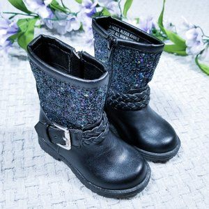 """143 Girl black sparkly """"Lil Alexis"""" toddler boots"""